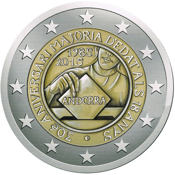 863bbe139a Andorra 2 Euro 2015 - 30 Years since 18 became Legal Age
