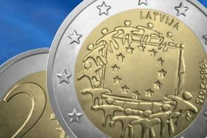 "New Latvia 2 euro commemorative coin ""30 Years of EU Flag"""